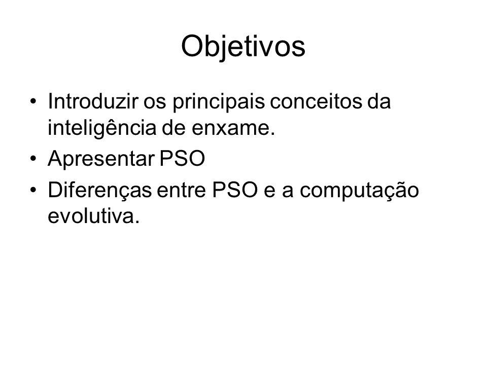 Objetivos Introduzir os principais conceitos da inteligência de enxame. Apresentar PSO Diferenças entre PSO e a computação evolutiva.
