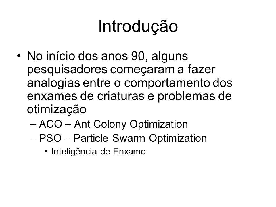 Introdução No início dos anos 90, alguns pesquisadores começaram a fazer analogias entre o comportamento dos enxames de criaturas e problemas de otimização –ACO – Ant Colony Optimization –PSO – Particle Swarm Optimization Inteligência de Enxame