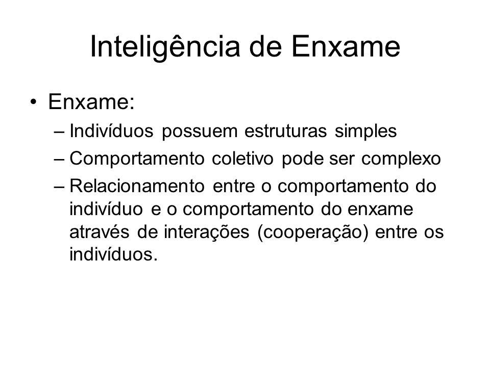 Enxame: –Indivíduos possuem estruturas simples –Comportamento coletivo pode ser complexo –Relacionamento entre o comportamento do indivíduo e o comportamento do enxame através de interações (cooperação) entre os indivíduos.