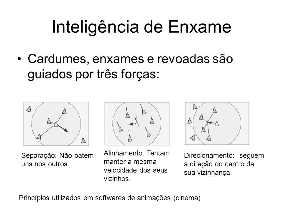 Inteligência de Enxame Cardumes, enxames e revoadas são guiados por três forças: Separação: Não batem uns nos outros. Alinhamento: Tentam manter a mes