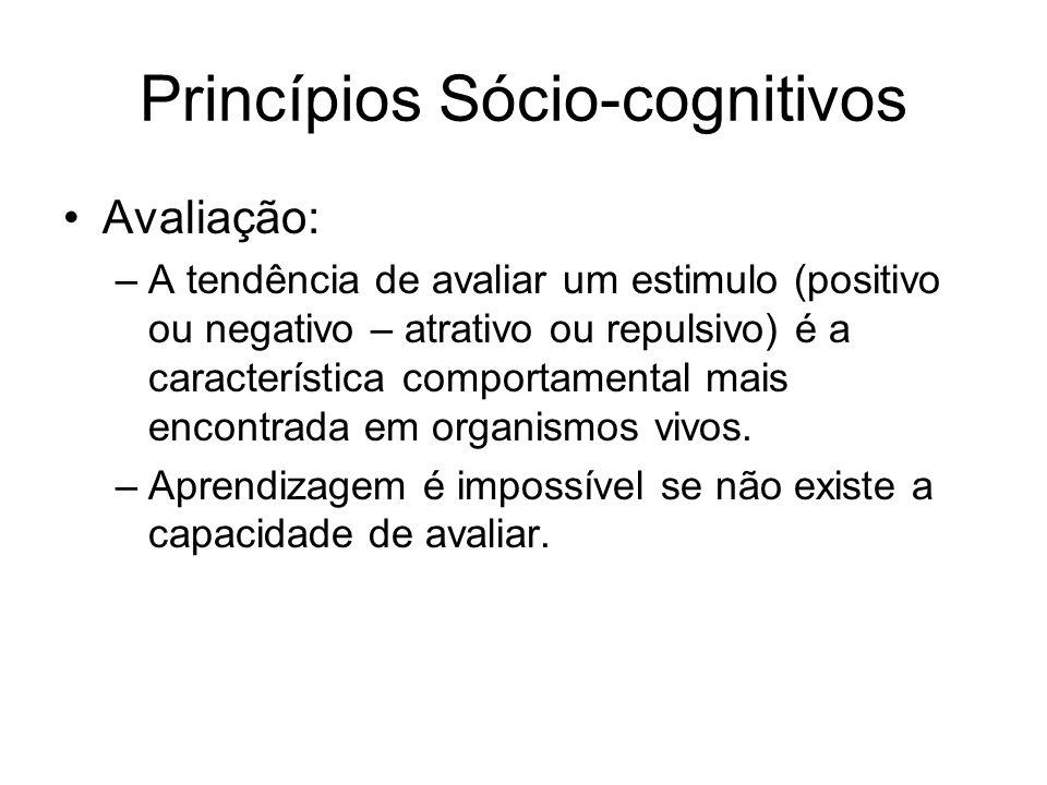 Princípios Sócio-cognitivos Avaliação: –A tendência de avaliar um estimulo (positivo ou negativo – atrativo ou repulsivo) é a característica comportamental mais encontrada em organismos vivos.