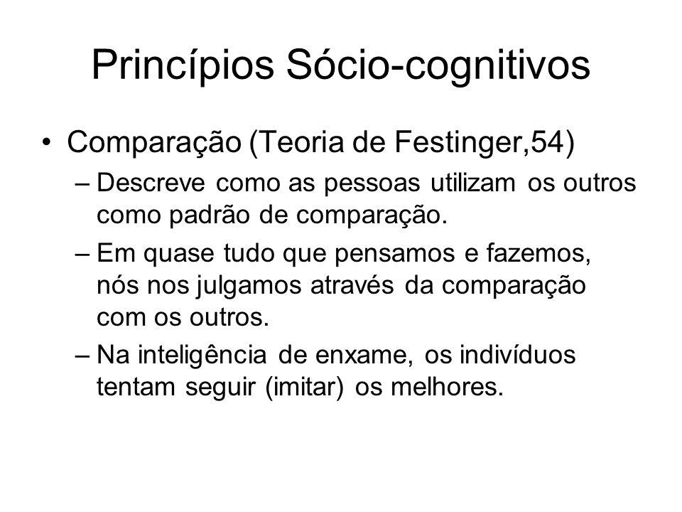 Princípios Sócio-cognitivos Comparação (Teoria de Festinger,54) –Descreve como as pessoas utilizam os outros como padrão de comparação. –Em quase tudo