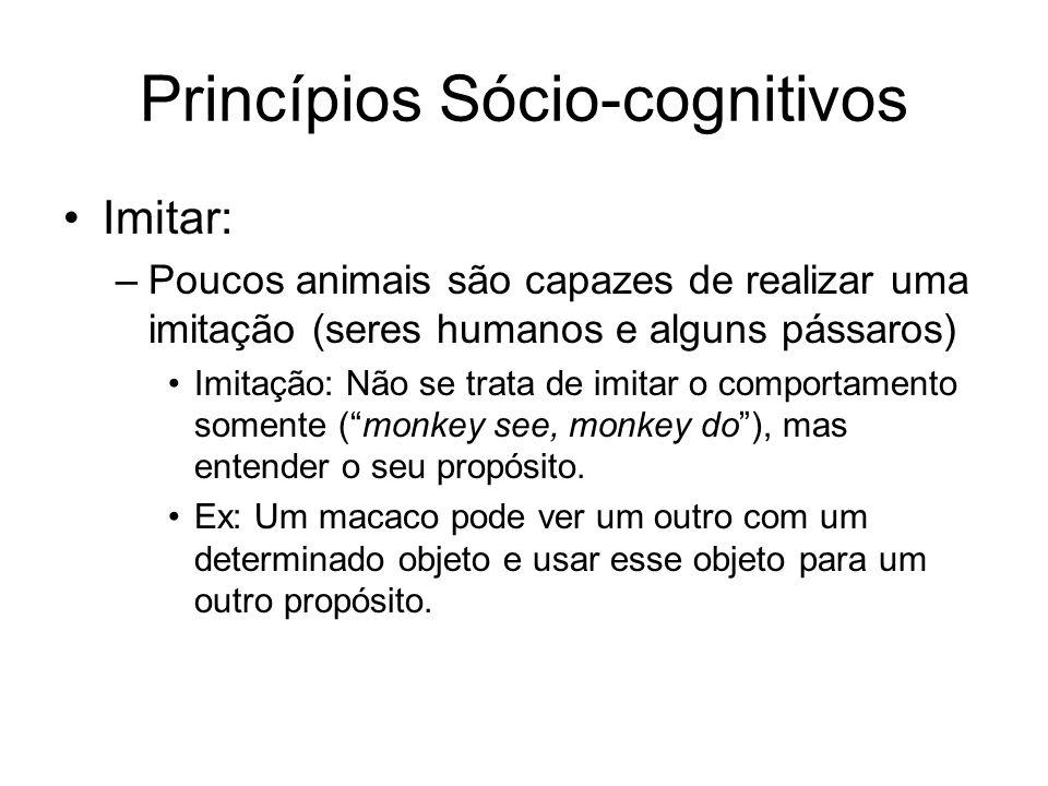 Princípios Sócio-cognitivos Imitar: –Poucos animais são capazes de realizar uma imitação (seres humanos e alguns pássaros) Imitação: Não se trata de imitar o comportamento somente (monkey see, monkey do), mas entender o seu propósito.