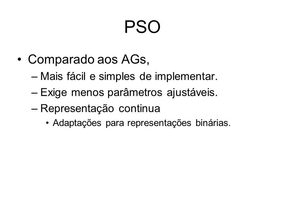 PSO Comparado aos AGs, –Mais fácil e simples de implementar. –Exige menos parâmetros ajustáveis. –Representação continua Adaptações para representaçõe
