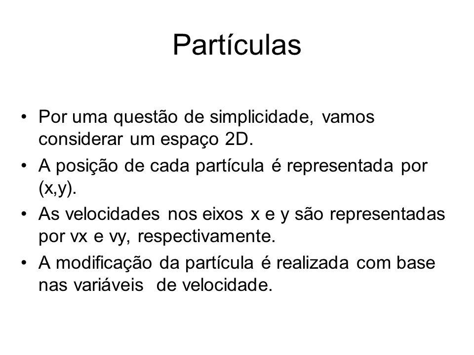 Partículas Por uma questão de simplicidade, vamos considerar um espaço 2D. A posição de cada partícula é representada por (x,y). As velocidades nos ei