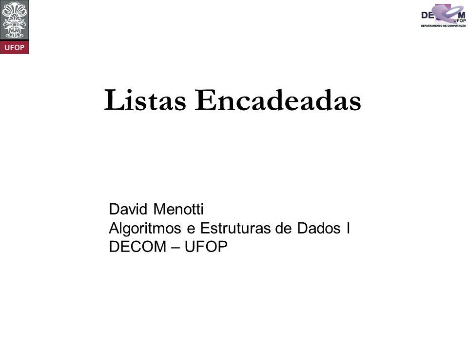 © David Menotti Algoritmos e Estrutura de Dados I Vestibular - Refinamento Final for (Nota = 10; Nota >= 0; Nota--) { while (!LEhVazia(&Classificacao[Nota])) { LRetira(Classificacao[Nota].Primeiro, &Classificacao[Nota], &Registro); i = 0; Passou = FALSE; while (i < NOpcoes && !Passou) { if (Vagas[Registro.Opcao[i]-1] > 0) { LInsere(Registro, &(Aprovados[Registro.Opcao[i]-1]) ); Vagas[Registro.Opcao[i]-1]--; Passou = TRUE; } i++; } if (!Passou) LInsere(Registro, &Reprovados); } for (i = 0; i < NCursos; i++) { printf( Relacao dos aprovados no Curso%ld\n , i+1); Imprime(Aprovados[i]); } printf( Relacao dos reprovados\n ); Imprime(Reprovados); return 0; }