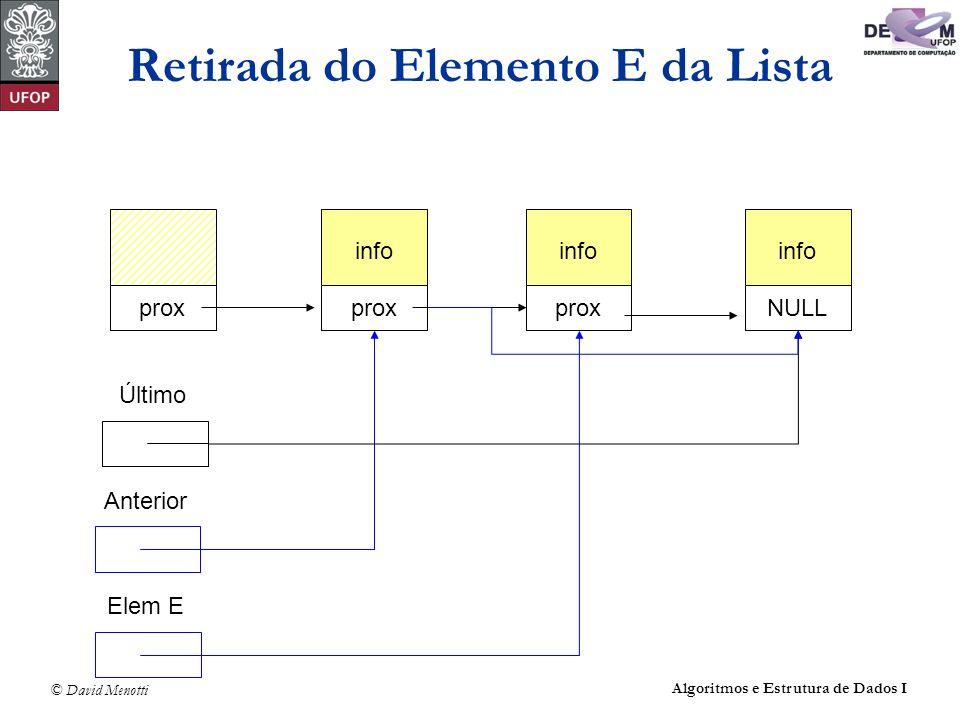 © David Menotti Algoritmos e Estrutura de Dados I Retirada do Elemento E da Lista info prox info prox info NULL Último Elem E Anterior
