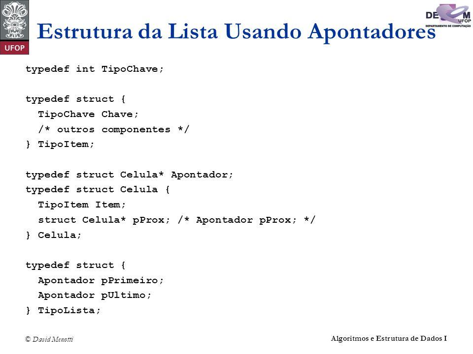 © David Menotti Algoritmos e Estrutura de Dados I Estrutura da Lista Usando Apontadores typedef int TipoChave; typedef struct { TipoChave Chave; /* ou