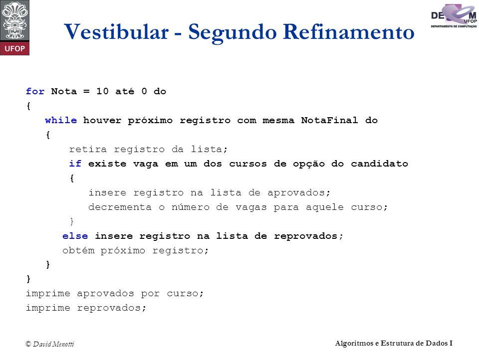 © David Menotti Algoritmos e Estrutura de Dados I Vestibular - Segundo Refinamento for Nota = 10 até 0 do { while houver próximo registro com mesma No
