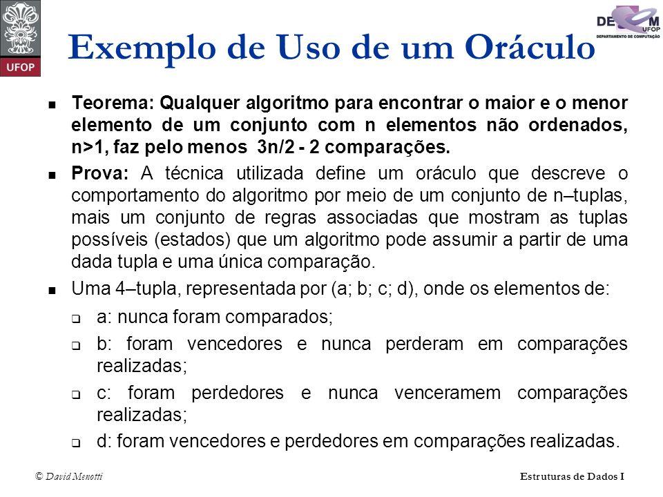 © David Menotti Estruturas de Dados I O algoritmo inicia no estado (n, 0, 0, 0) e termina com (0, 1, 1, n - 2).