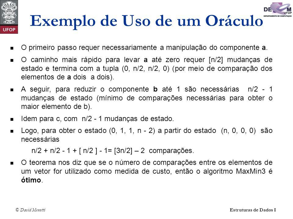 © David Menotti Estruturas de Dados I Exercício Construir um modelo (oráculo composto de estado e regras) para o problema de determinar o maior valor em um vetor com n elementos, onde n > 1 Implementar um algoritmo que corresponde ao modelo.