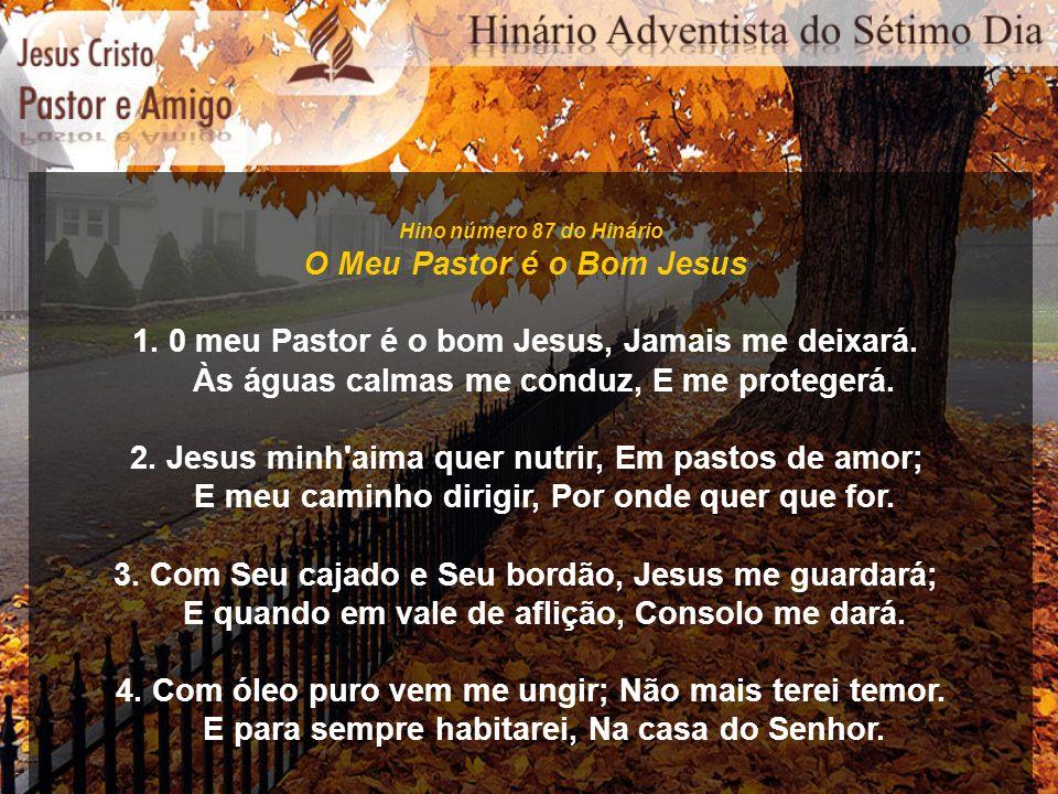 Hino número 87 do Hinário O Meu Pastor é o Bom Jesus 1. 0 meu Pastor é o bom Jesus, Jamais me deixará. Às águas calmas me conduz, E me protegerá. 2. J