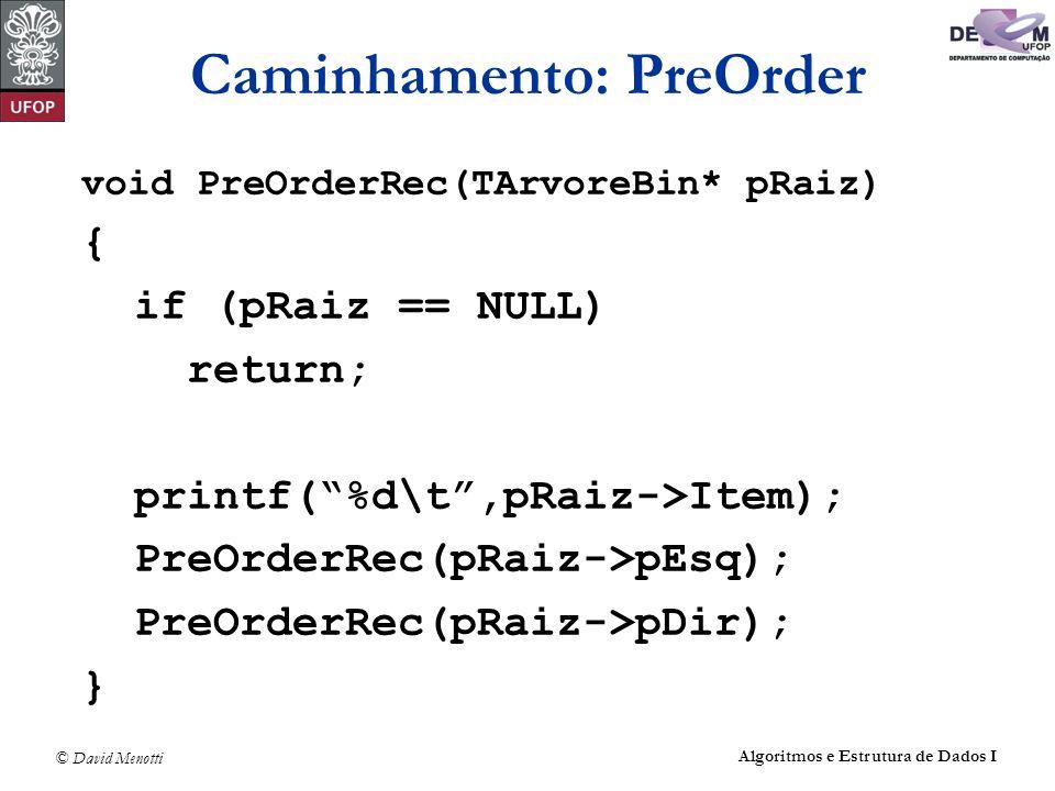 © David Menotti Algoritmos e Estrutura de Dados I Caminhamento: PreOrder void PreOrderRec(TArvoreBin* pRaiz) { if (pRaiz == NULL) return; printf(%d\t,