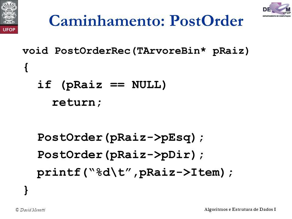 © David Menotti Algoritmos e Estrutura de Dados I Caminhamento: PostOrder void PostOrderRec(TArvoreBin* pRaiz) { if (pRaiz == NULL) return; PostOrder(