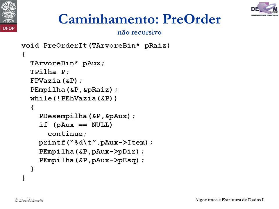 © David Menotti Algoritmos e Estrutura de Dados I Caminhamento: PreOrder não recursivo void PreOrderIt(TArvoreBin* pRaiz) { TArvoreBin* pAux; TPilha P
