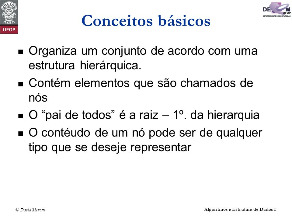 © David Menotti Algoritmos e Estrutura de Dados I Caminhamento: PreOrder void PreOrderRec(TArvoreBin* pRaiz) { if (pRaiz == NULL) return; printf(%d\t,pRaiz->Item); PreOrderRec(pRaiz->pEsq); PreOrderRec(pRaiz->pDir); }