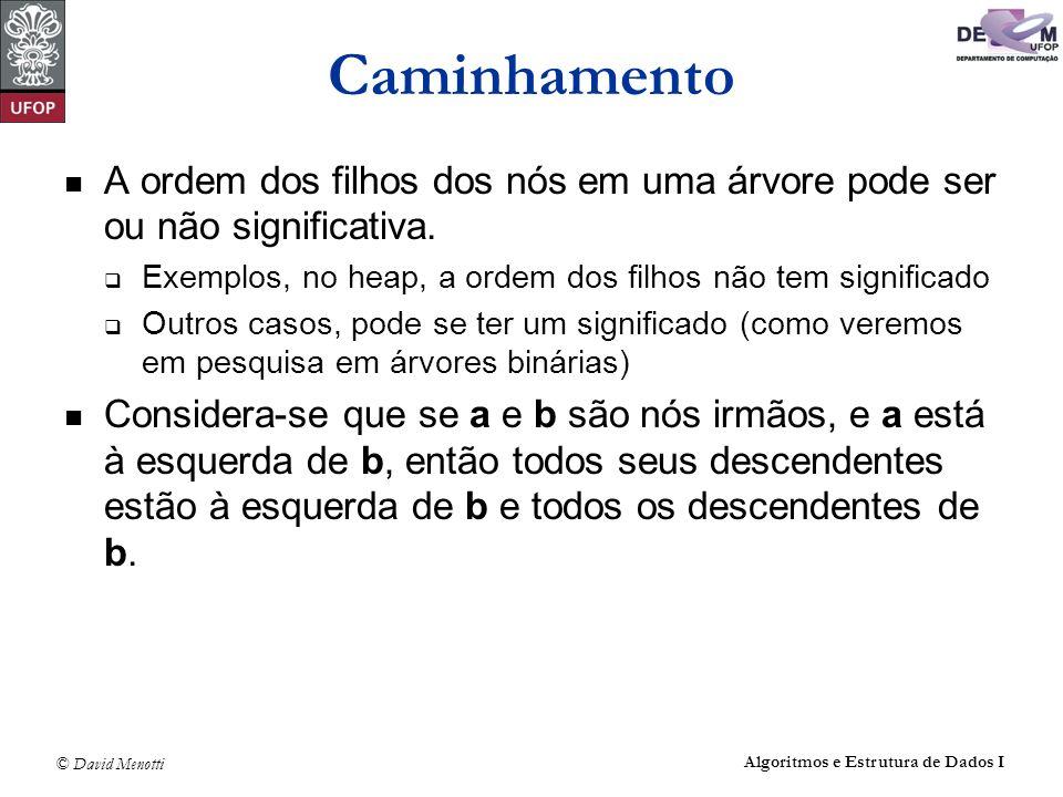 © David Menotti Algoritmos e Estrutura de Dados I Caminhamento: InOrder não recursivo void InOrderIt(TArvoreBin* pRaiz) { TArvoreBin* pAux; TPilha P; FPVazia(&P); PEmpilha(&P,pRaiz); pAux = pRaiz->pEsq; while(!PEhVazia(&P) || pAux != NULL) { if (pAux == NULL) { PDesempilha(&P,&pAux); printf( %d\t ,pAux->Item); pAux = pAux->pDir; } else { PEmpilha(&P,pAux); pAux = pAux->pEsq; }
