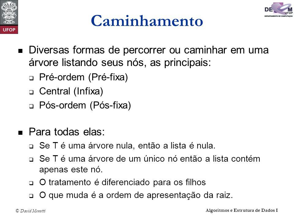 © David Menotti Algoritmos e Estrutura de Dados I Caminhamento: PostOrder não recursivo void PostOrderIt(TArvoreBin* pRaiz) { TArvoreBin *pAux; TPilha P1,P2; FPVazia(&P1); FPVazia(&P2); PEmpilha(&P2,pRaiz); pAux = pRaiz; while(!PEhVazia(&P2) ) { PDesempilha(&P2,&pAux); PEmpilha(&P1,pAux); if (pAux->pEsq != NULL) PEmpilha(&P2,pAux->pEsq); if (pAux->pDir != NULL) PEmpilha(&P2,pAux->pDir); } while(!PEhVazia(&P1) ) { PDesempilha(&P1,&pAux); printf( %d\t ,pAux->Item); }