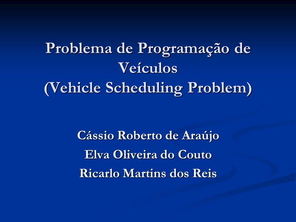 Problema de Programação de Veículos Exemplo Fazendo Custo Fixo = 100, K1 = 2, K2 = 1 e resolvendo o modelo no LINGO temos: Fazendo Custo Fixo = 100, K1 = 2, K2 = 1 e resolvendo o modelo no LINGO temos: 1 5 3 r 4 2 s 1 5 3 4 2