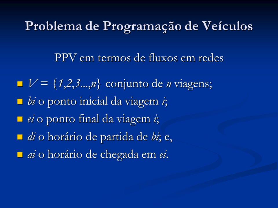 Problema de Programação de Veículos PPV em termos de fluxos em redes O arco (i,j) representa a ligação da viagem i com a viagem j; O arco (i,j) representa a ligação da viagem i com a viagem j; tij representa o tempo de viagem de porta fechada de ei até bj; tij representa o tempo de viagem de porta fechada de ei até bj; A garagem é representada pelos nós r (partida da garagem) e s (retorno à garagem); A garagem é representada pelos nós r (partida da garagem) e s (retorno à garagem); Um par de viagens (i, j) é compatível se: dj – ai tij Um par de viagens (i, j) é compatível se: dj – ai tij onde o custo deste arco é: cij = K1 tij + K2 (tempo de espera) onde o custo deste arco é: cij = K1 tij + K2 (tempo de espera) K1 e K2 são constantes associadas aos custos operacionais do veículo; K1 e K2 são constantes associadas aos custos operacionais do veículo; tempo de espera é dado por: dj - ai - tij.