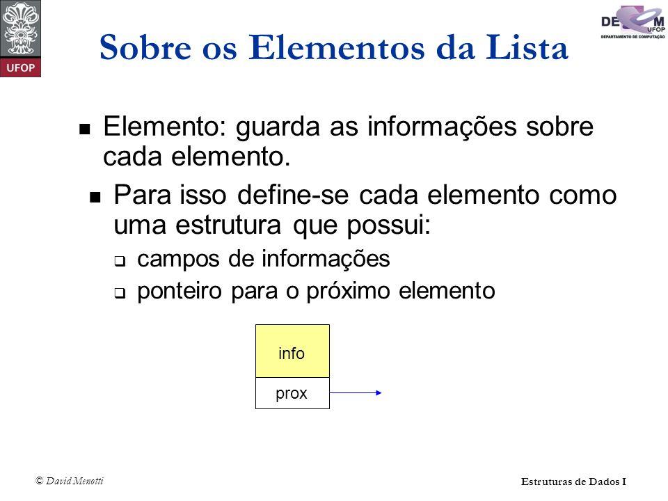 © David Menotti Estruturas de Dados I Sobre a Lista Uma lista pode ter uma célula cabeça info prox info prox info NULL Uma lista pode ter um apontador para o último elemento Último