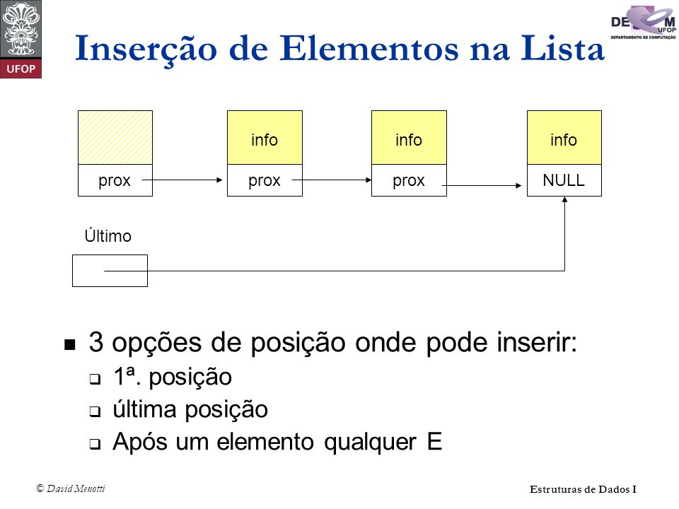 © David Menotti Estruturas de Dados I Operações sobre Lista Usando Apontadores (com cabeça) int LRetira(TLista* pLista, TItem* pItem) { TCelula* pAux; if (LEhVazia(pLista)) return 0; *pItem = pLista->pPrimeiro->pProx->Item; pAux = pLista->pPrimeiro; pLista->pPrimeiro = pLista->pPrimeiro->pProx; free(pAux); return 1; }