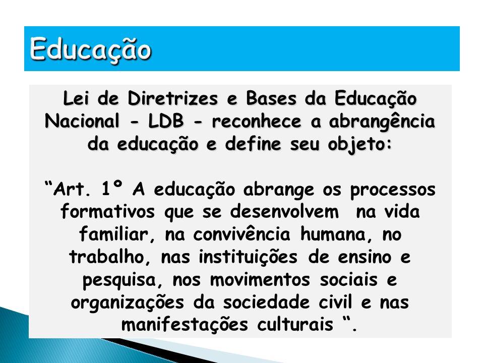 Lei de Diretrizes e Bases da Educação Nacional - LDB - reconhece a abrangência da educação e define seu objeto: Art. 1º A educação abrange os processo