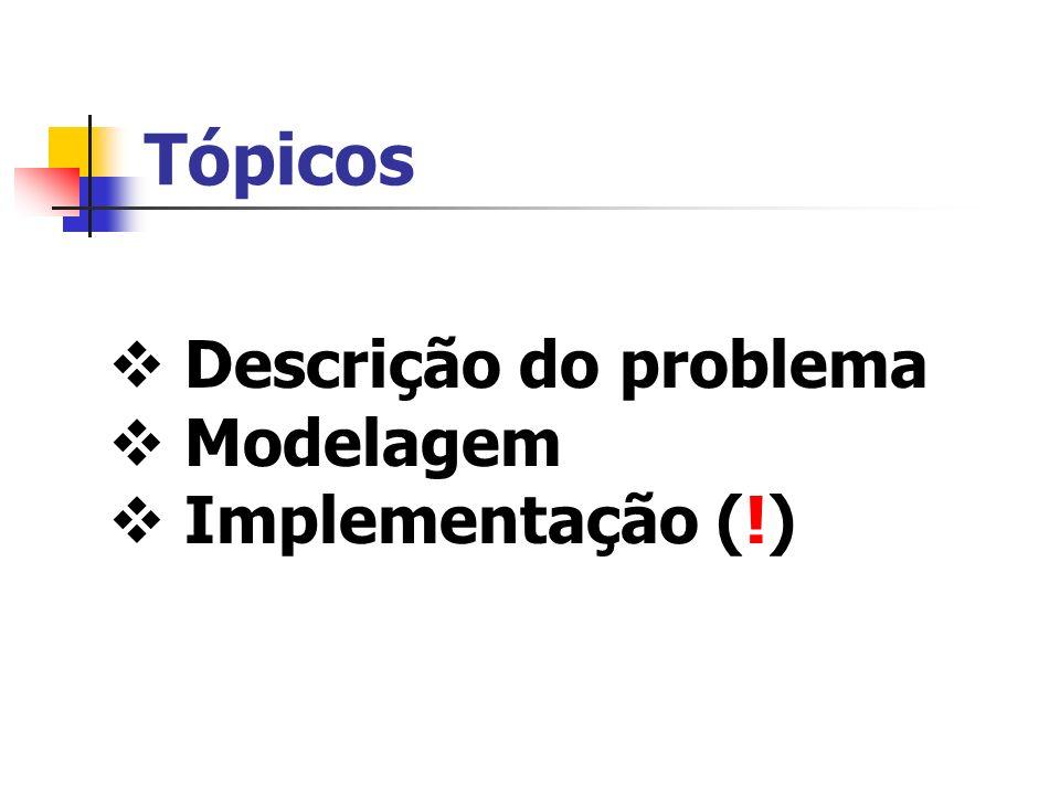 Tópicos Descrição do problema Modelagem Implementação (!)