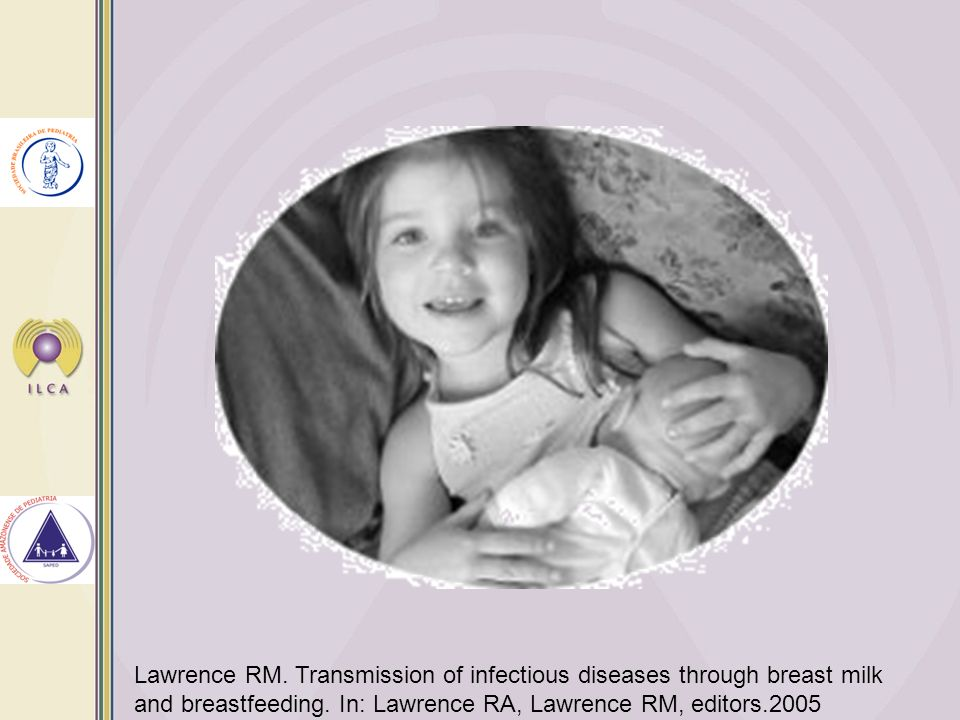 Lawrence RM. Transmission of infectious diseases through breast milk and breastfeeding. In: Lawrence RA, Lawrence RM, editors.2005