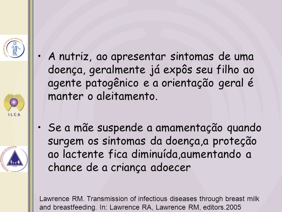 Lawrence RM.Transmission of infectious diseases through breast milk and breastfeeding.