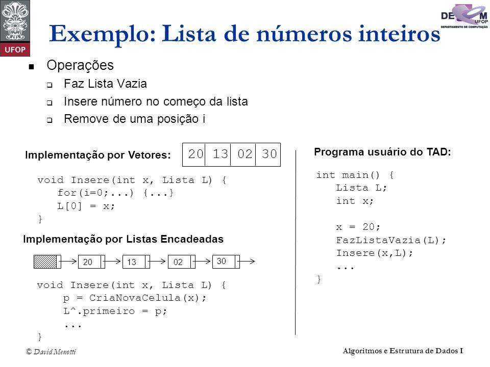 © David Menotti Algoritmos e Estrutura de Dados I Exemplo: Lista de números inteiros Operações Faz Lista Vazia Insere número no começo da lista Remove