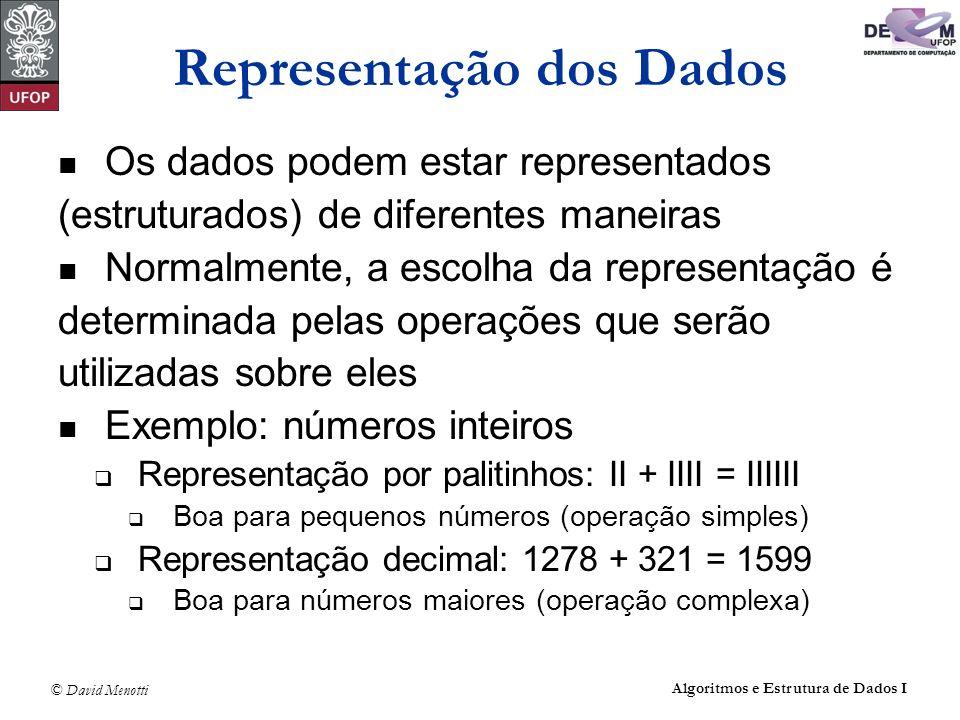 © David Menotti Algoritmos e Estrutura de Dados I Representação dos Dados Os dados podem estar representados (estruturados) de diferentes maneiras Nor