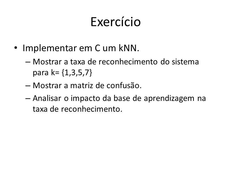 Exercício Implementar em C um kNN. – Mostrar a taxa de reconhecimento do sistema para k= {1,3,5,7} – Mostrar a matriz de confusão. – Analisar o impact