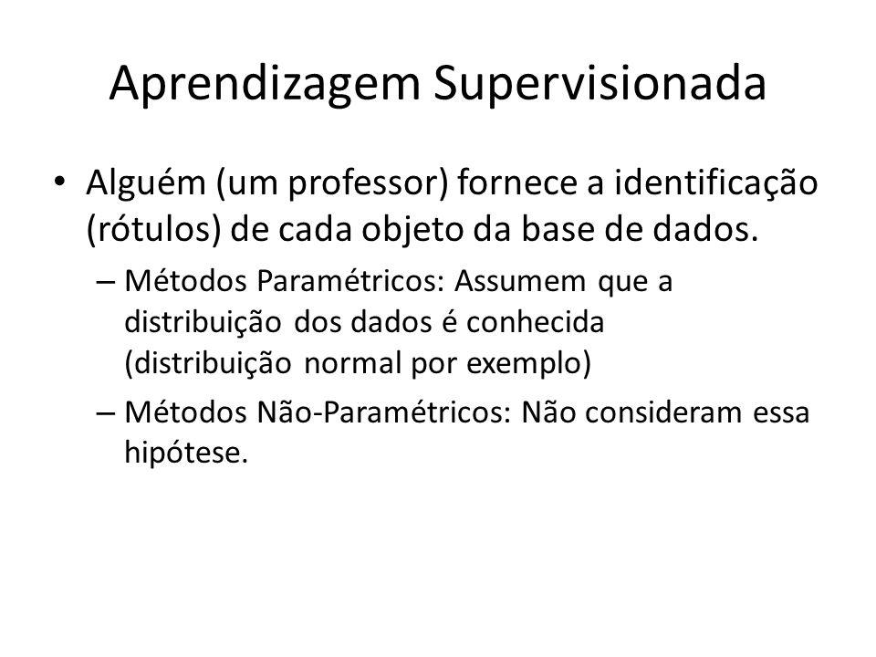 Aprendizagem Supervisionada Alguém (um professor) fornece a identificação (rótulos) de cada objeto da base de dados. – Métodos Paramétricos: Assumem q
