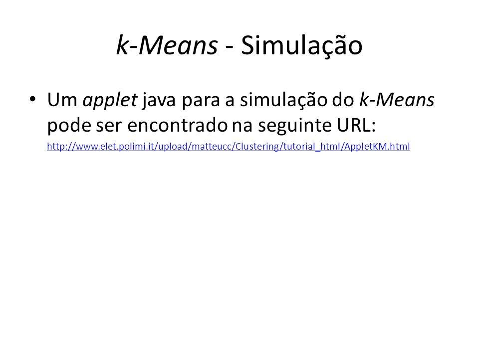 k-Means - Simulação Um applet java para a simulação do k-Means pode ser encontrado na seguinte URL: http://www.elet.polimi.it/upload/matteucc/Clusteri