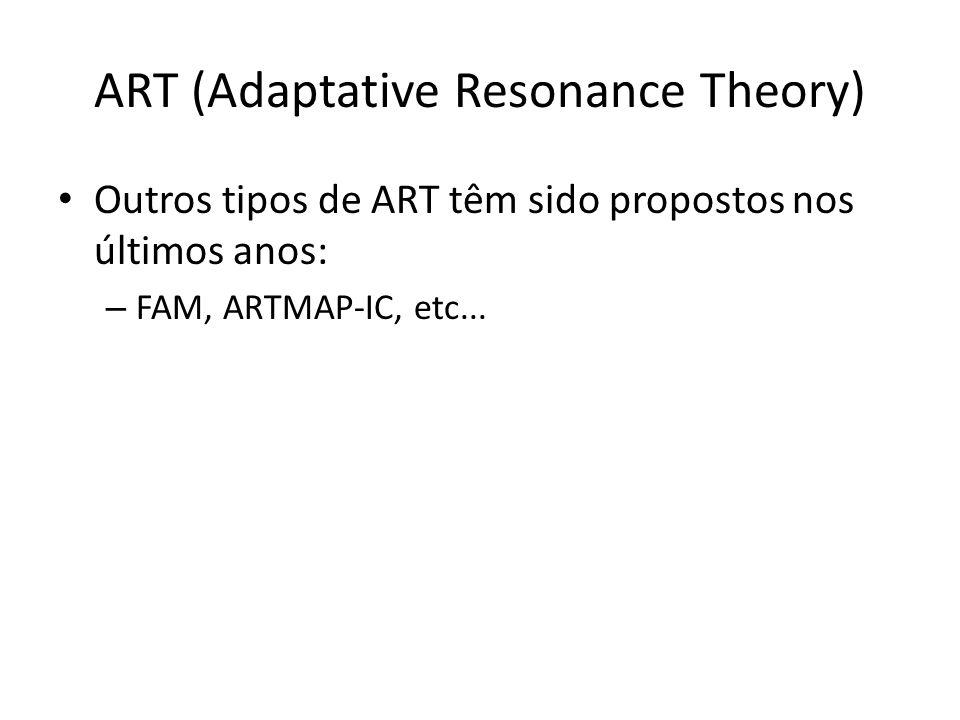 ART (Adaptative Resonance Theory) Outros tipos de ART têm sido propostos nos últimos anos: – FAM, ARTMAP-IC, etc...