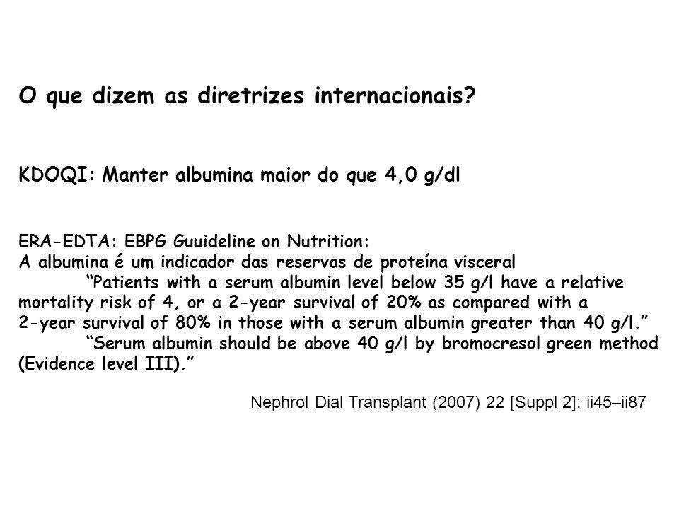 O que dizem as diretrizes internacionais? KDOQI: Manter albumina maior do que 4,0 g/dl ERA-EDTA: EBPG Guuideline on Nutrition: A albumina é um indicad