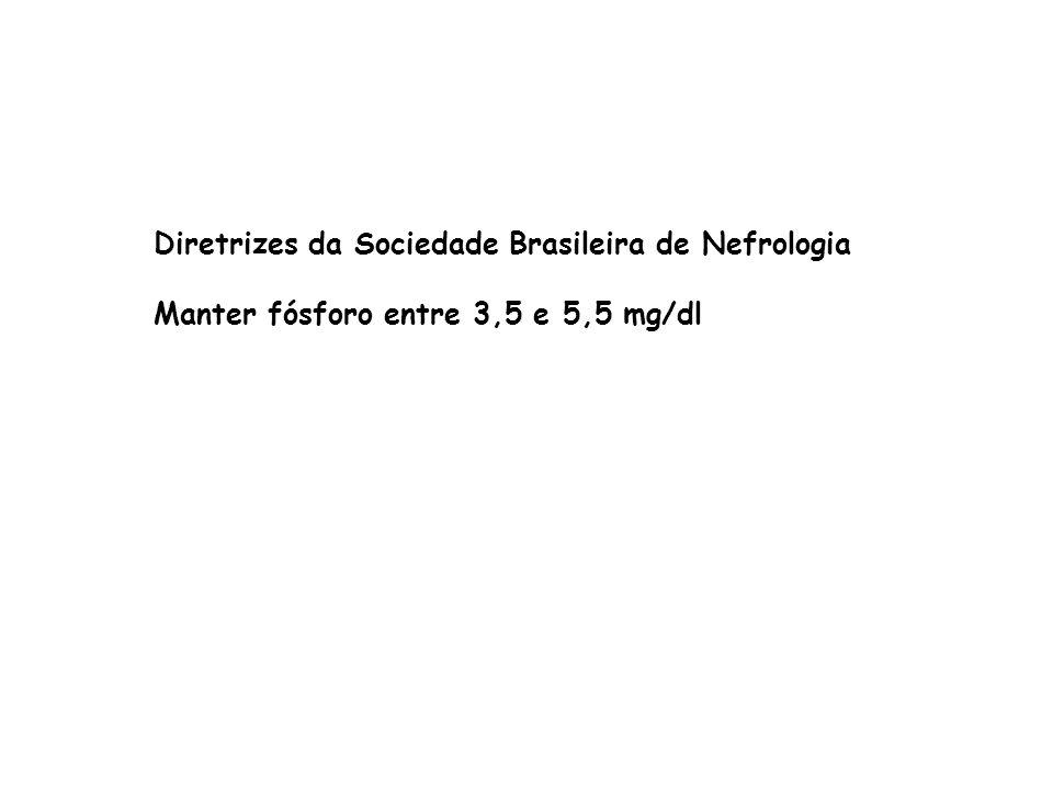 Diretrizes da Sociedade Brasileira de Nefrologia Manter fósforo entre 3,5 e 5,5 mg/dl