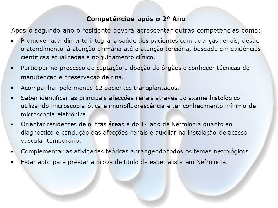 Competências após o 2º Ano Após o segundo ano o residente deverá acrescentar outras competências como: Promover atendimento integral a saúde dos pacie