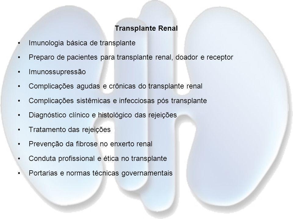 Transplante Renal Imunologia básica de transplante Preparo de pacientes para transplante renal, doador e receptor Imunossupressão Complicações agudas
