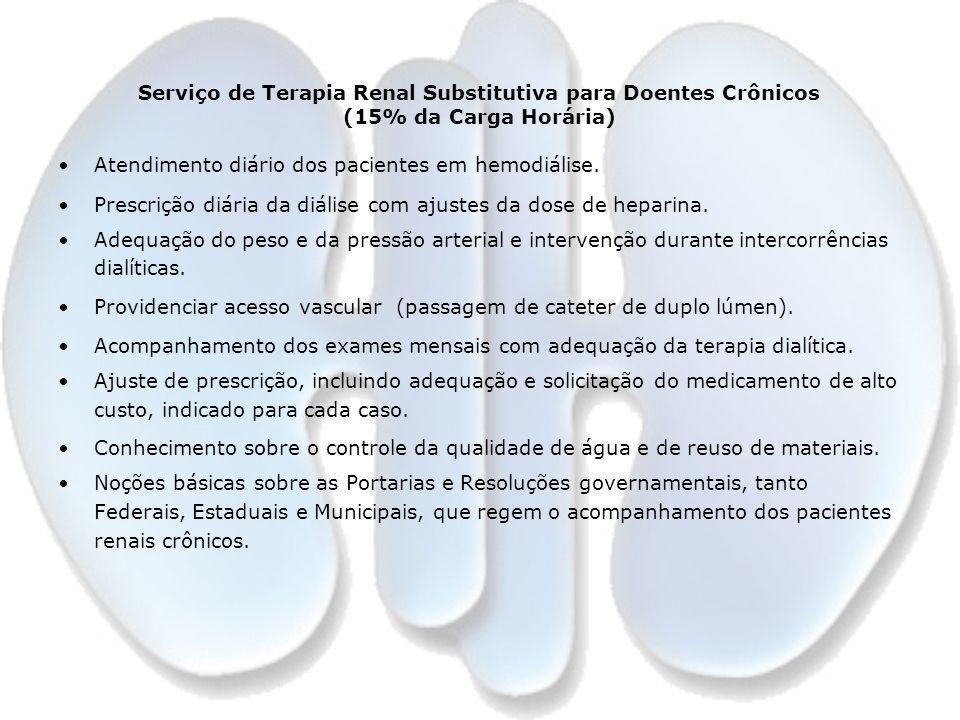 Serviço de Terapia Renal Substitutiva para Doentes Crônicos (15% da Carga Horária) Atendimento diário dos pacientes em hemodiálise. Prescrição diária