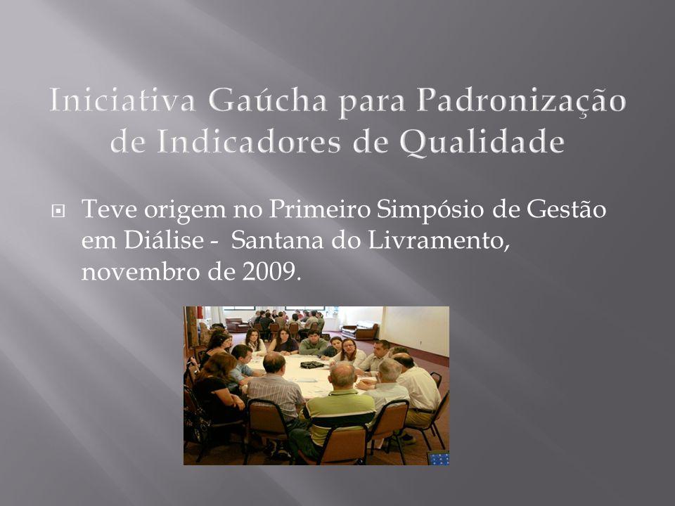 Iniciativa Gaúcha para Padronização de Indicadores de Qualidade Teve origem no Primeiro Simpósio de Gestão em Diálise - Santana do Livramento, novembr
