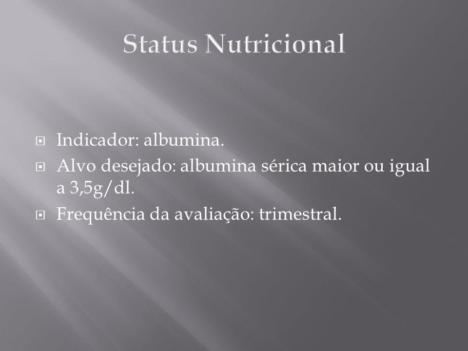 Indicador: albumina. Alvo desejado: albumina sérica maior ou igual a 3,5g/dl. Frequência da avaliação: trimestral.