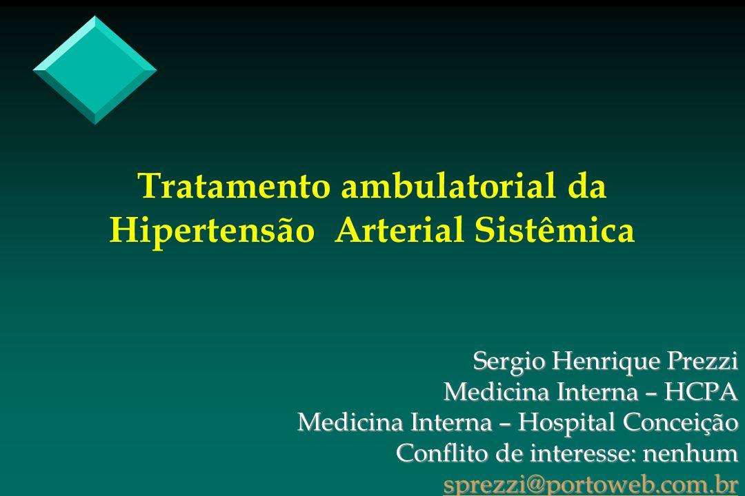 Tratamento ambulatorial da Hipertensão Arterial Sistêmica Sergio Henrique Prezzi Medicina Interna – HCPA Medicina Interna – Hospital Conceição Conflit