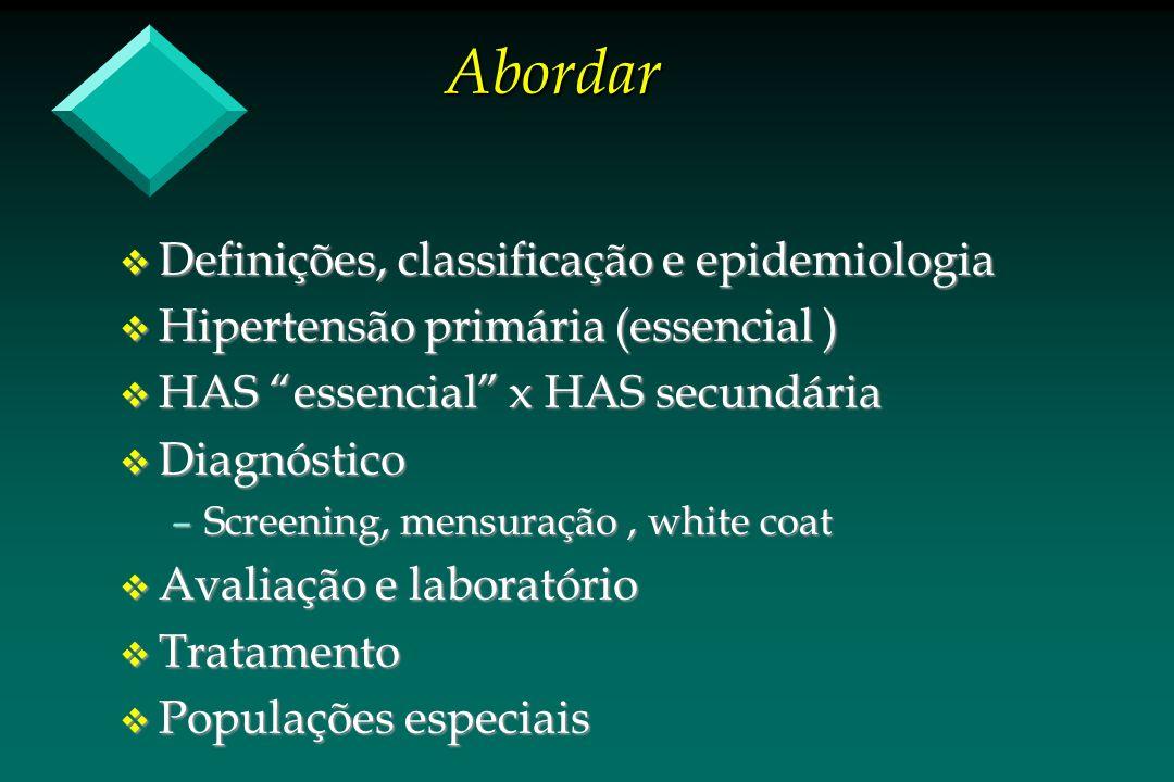 Abordar v Definições, classificação e epidemiologia v Hipertensão primária (essencial ) v HAS essencial x HAS secundária v Diagnóstico –Screening, men