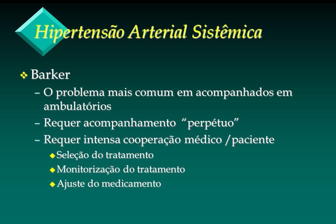 Hipertensão Arterial Sistêmica v Barker –O problema mais comum em acompanhados em ambulatórios –Requer acompanhamento perpétuo –Requer intensa coopera