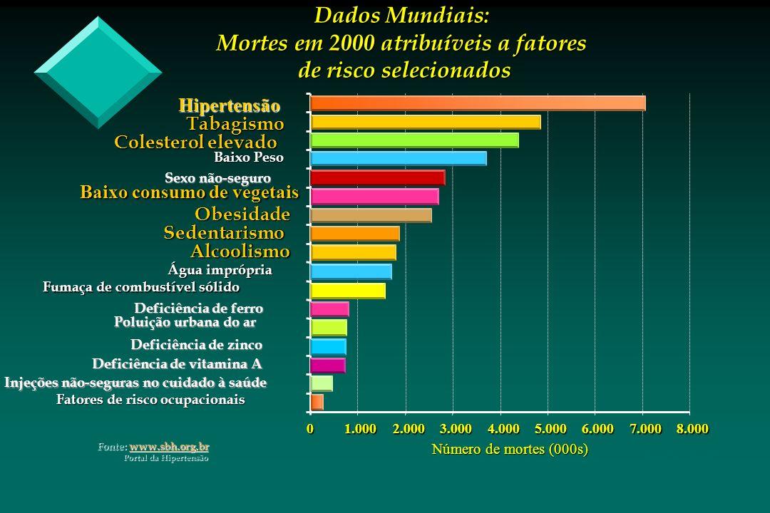 WHO - 2002 01.0002.0003.0004.0005.0006.0007.0008.000 Número de mortes (000s) Baixo Peso Baixo consumo de vegetais Dados Mundiais: Mortes em 2000 atrib