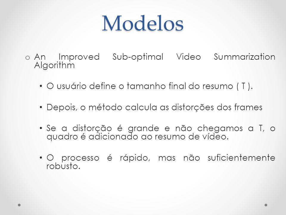 Modelos o An Improved Sub-optimal Video Summarization Algorithm O usuário define o tamanho final do resumo ( T ). Depois, o método calcula as distorçõ