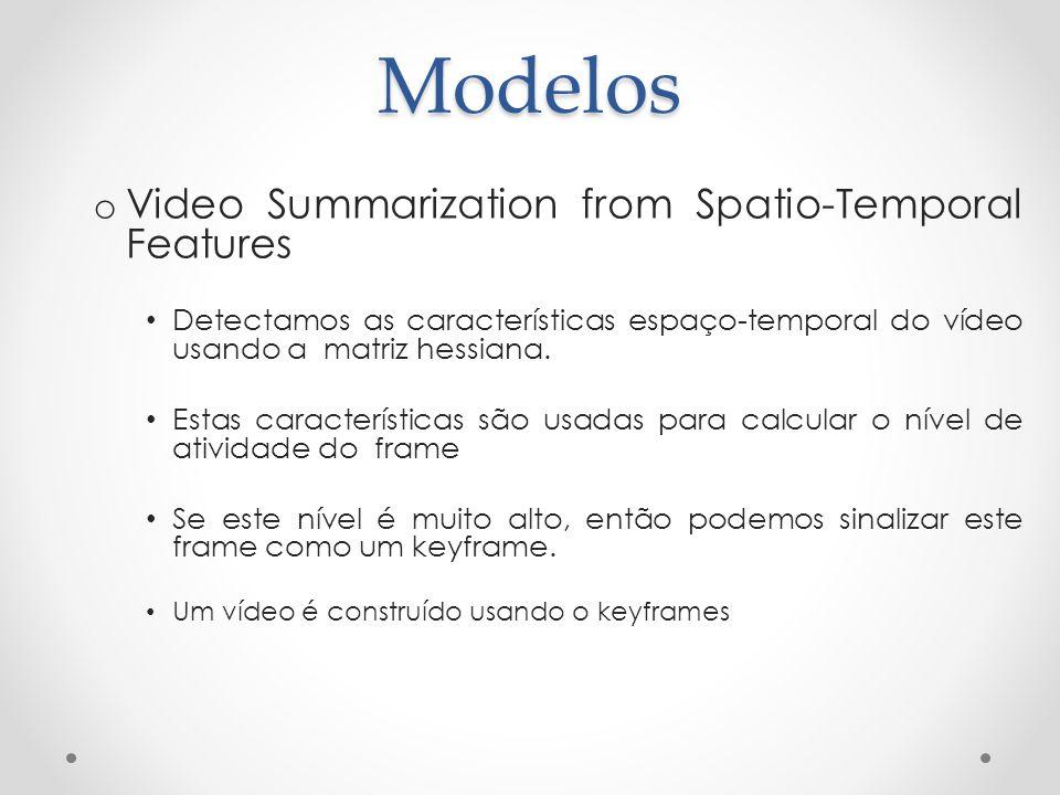 Modelos o Video Summarization from Spatio-Temporal Features Detectamos as características espaço-temporal do vídeo usando a matriz hessiana. Estas car