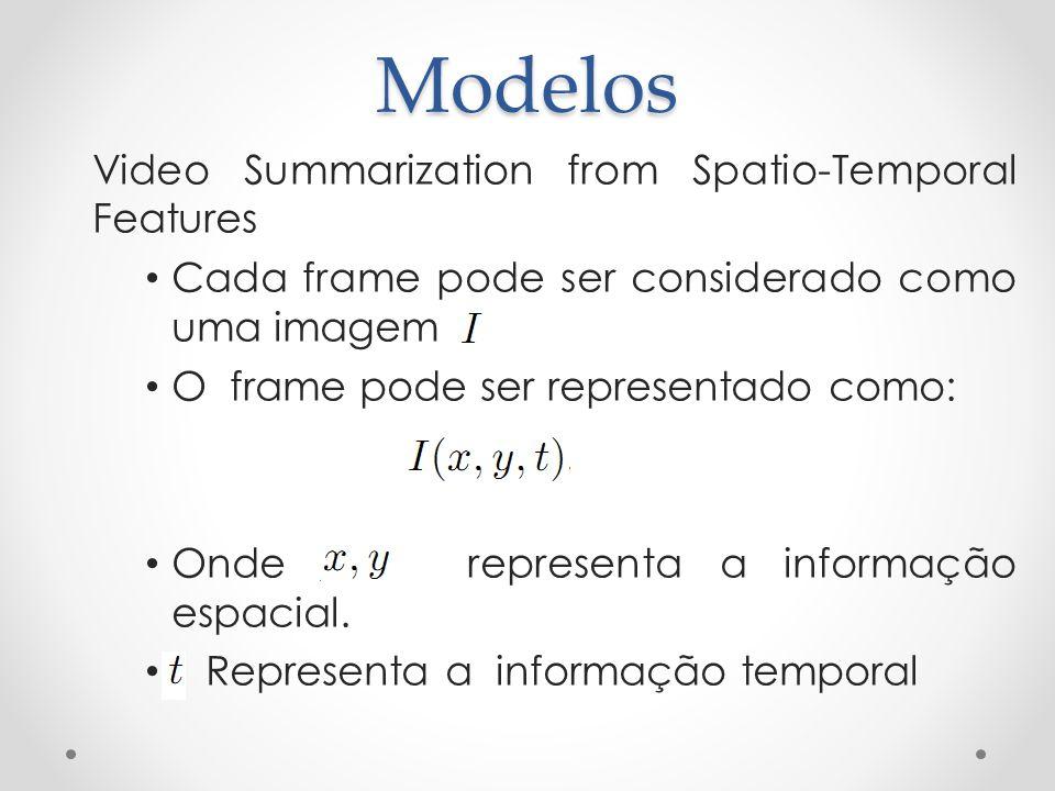 Modelos Video Summarization from Spatio-Temporal Features Cada frame pode ser considerado como uma imagem O frame pode ser representado como: Onde rep